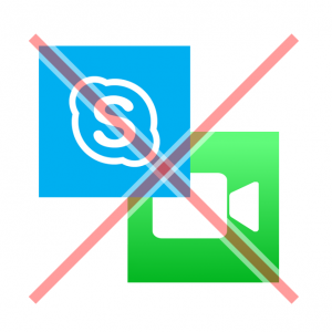 A red X over Skype and FaceTtme logos