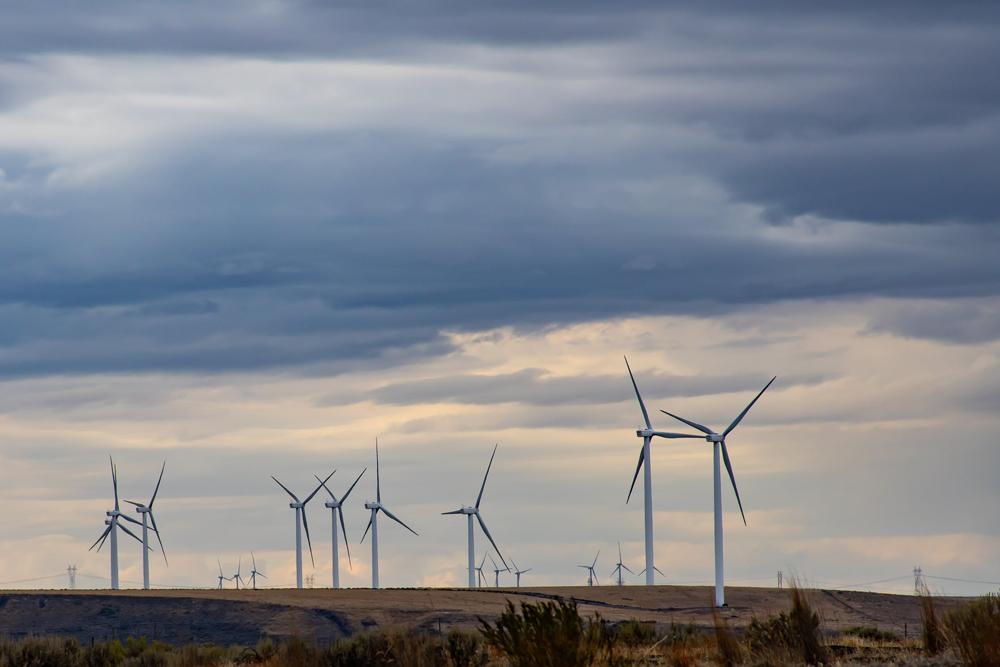 wind turbine farm and cloudy sky