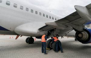 Aircraft parked outside for line maintenance